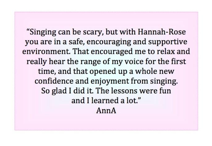Anna singing lesson testimonial