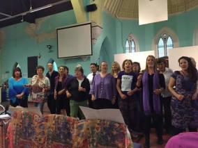 glow choir group purple